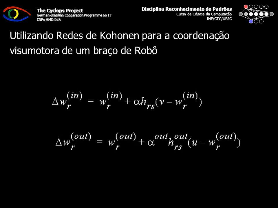 Disciplina Reconhecimento de Padrões Curso de Ciência da Camputação INE/CTC/UFSC The Cyclops Project German-Brazilian Cooperation Programme on IT CNPq GMD DLR Utilizando Redes de Kohonen para a coordenação visumotora de um braço de Robô