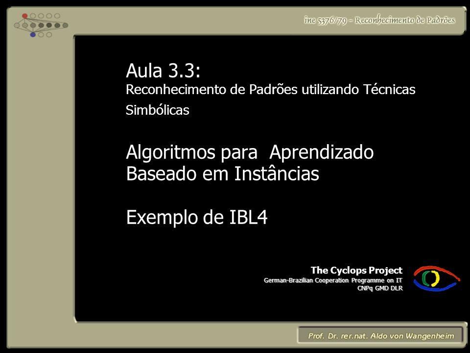 The Cyclops Project German-Brazilian Cooperation Programme on IT CNPq GMD DLR Aula 3.3: Reconhecimento de Padrões utilizando Técnicas Simbólicas Algoritmos para Aprendizado Baseado em Instâncias Exemplo de IBL4