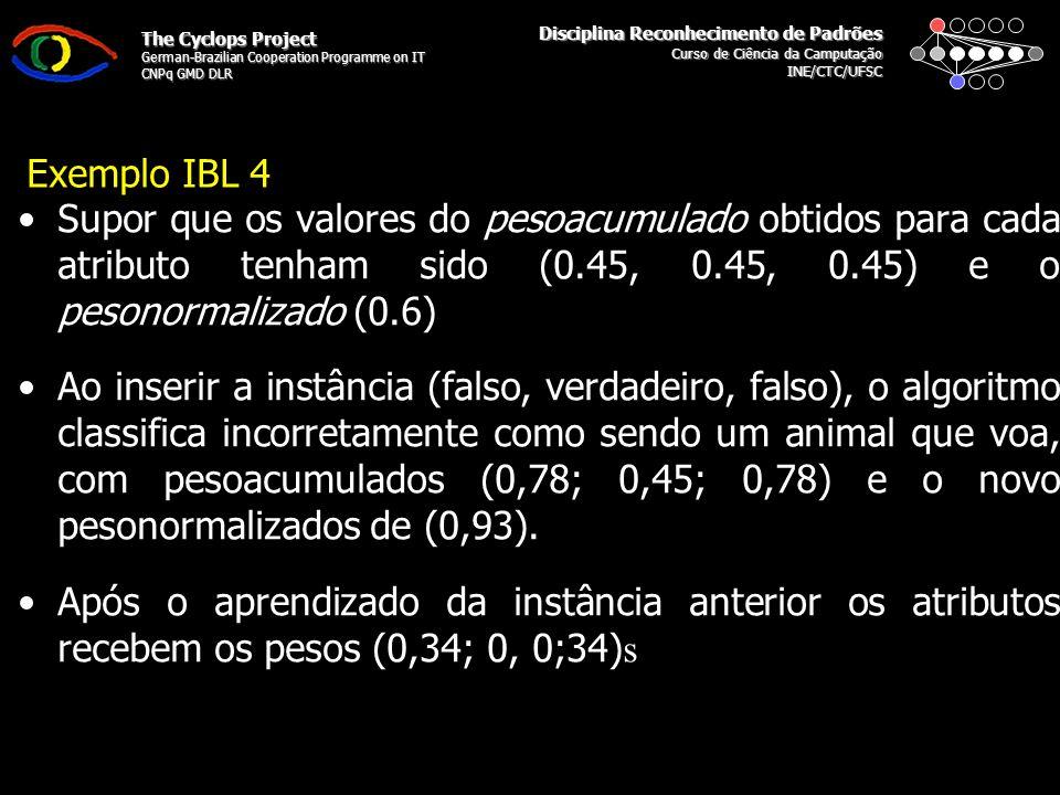 Disciplina Reconhecimento de Padrões Curso de Ciência da Camputação INE/CTC/UFSC The Cyclops Project German-Brazilian Cooperation Programme on IT CNPq GMD DLR Exemplo IBL 4 Supor que os valores do pesoacumulado obtidos para cada atributo tenham sido (0.45, 0.45, 0.45) e o pesonormalizado (0.6) Ao inserir a instância (falso, verdadeiro, falso), o algoritmo classifica incorretamente como sendo um animal que voa, com pesoacumulados (0,78; 0,45; 0,78) e o novo pesonormalizados de (0,93).