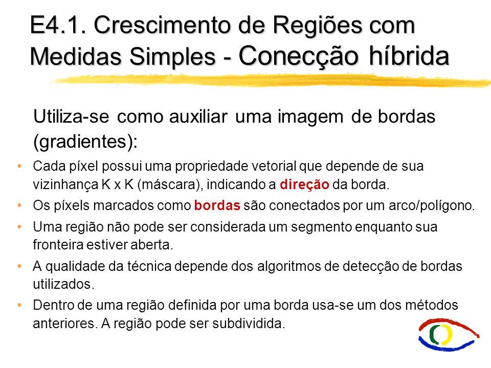 E4.1. Crescimento de Regiões com Medidas Simples - Conecção híbrida Utiliza-se como auxiliar uma imagem de bordas (gradientes): Cada píxel possui uma