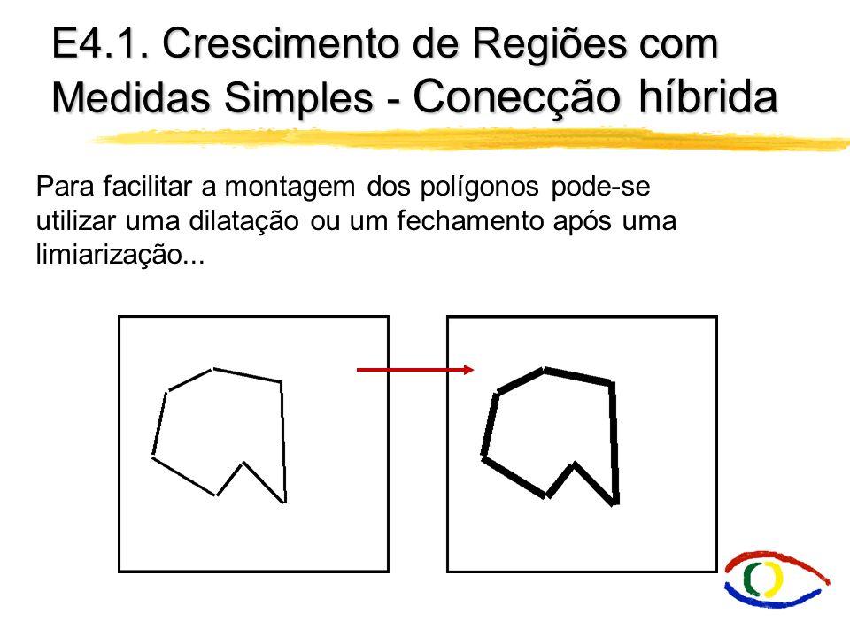 E4.1. Crescimento de Regiões com Medidas Simples - Conecção híbrida Para facilitar a montagem dos polígonos pode-se utilizar uma dilatação ou um fecha