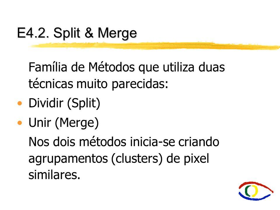 E4.2. Split & Merge Família de Métodos que utiliza duas técnicas muito parecidas: Dividir (Split) Unir (Merge) Nos dois métodos inicia-se criando agru