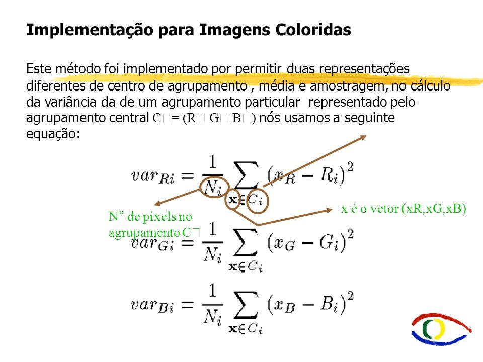 Implementação para Imagens Coloridas Este método foi implementado por permitir duas representações diferentes de centro de agrupamento, média e amostr