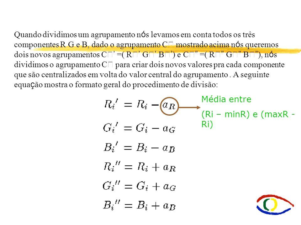 Quando dividimos um agrupamento n ó s levamos em conta todos os três componentes R G e B, dado o agrupamento C mostrado acima n ó s queremos dois novo