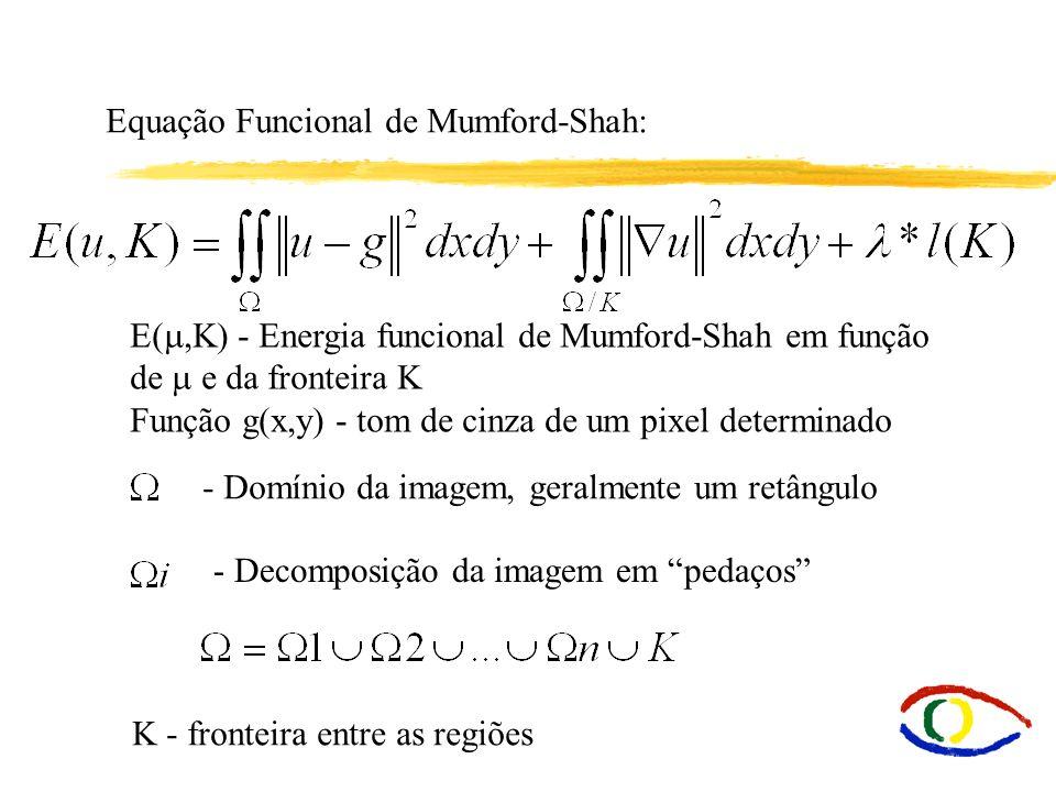 Equação Funcional de Mumford-Shah: E(,K) - Energia funcional de Mumford-Shah em função de e da fronteira K Função g(x,y) - tom de cinza de um pixel de