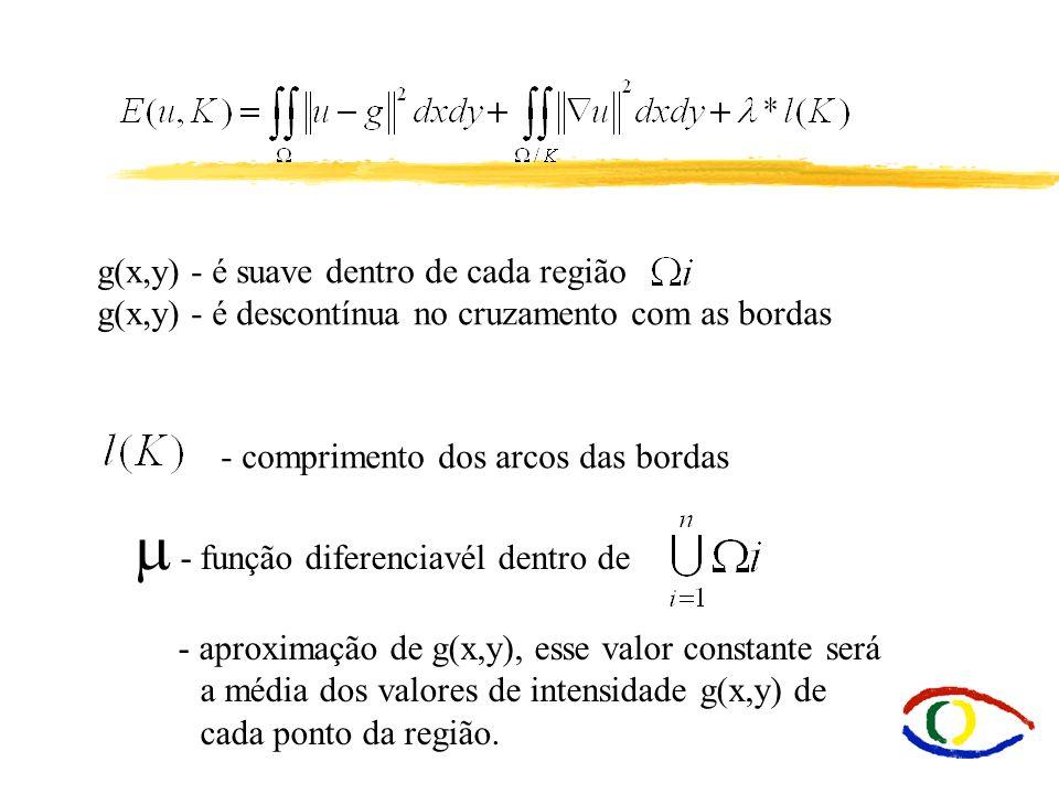 g(x,y) - é suave dentro de cada região g(x,y) - é descontínua no cruzamento com as bordas - comprimento dos arcos das bordas - função diferenciavél de