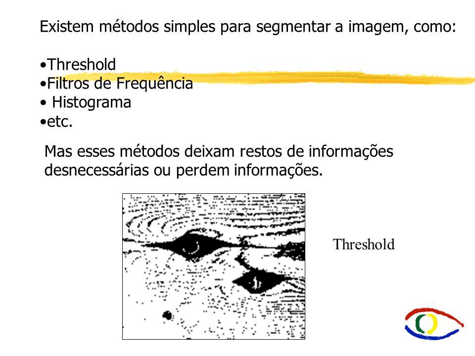Existem métodos simples para segmentar a imagem, como: Threshold Filtros de Frequência Histograma etc. Mas esses métodos deixam restos de informações