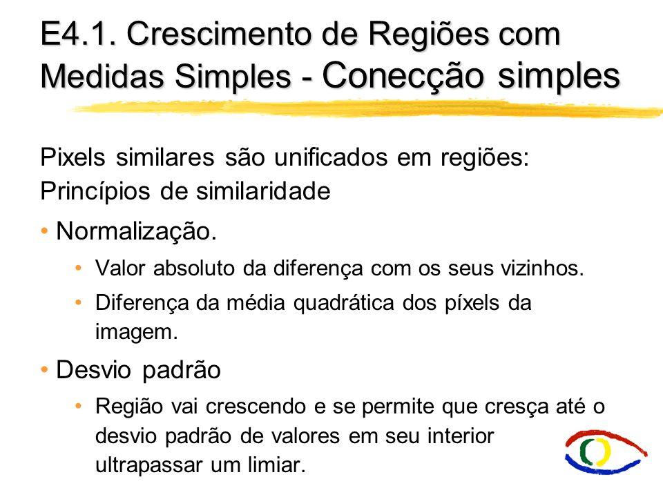 E4.1. Crescimento de Regiões com Medidas Simples - Conecção simples Pixels similares são unificados em regiões: Princípios de similaridade Normalizaçã