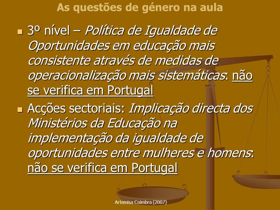 Artemisa Coimbra (2007) 3º nível – Política de Igualdade de Oportunidades em educação mais consistente através de medidas de operacionalização mais si