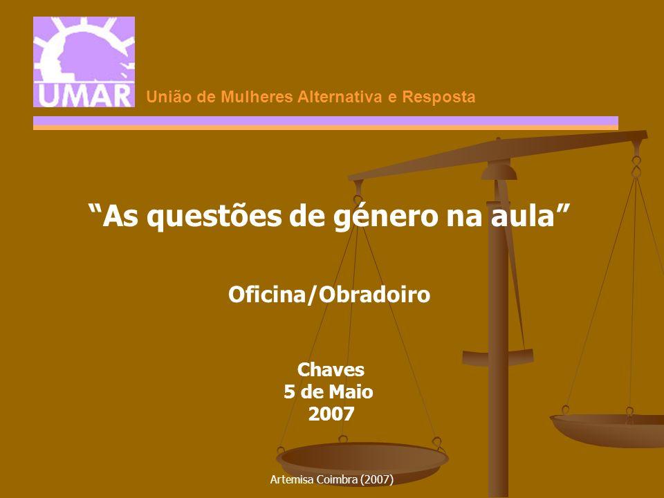 Artemisa Coimbra (2007) LINGUAGEM O homem O homem O aluno O aluno O professor O professor O cidadão O cidadão O trabalhador O trabalhador Os pais Os pais As questões de género na aula o masculino como universal