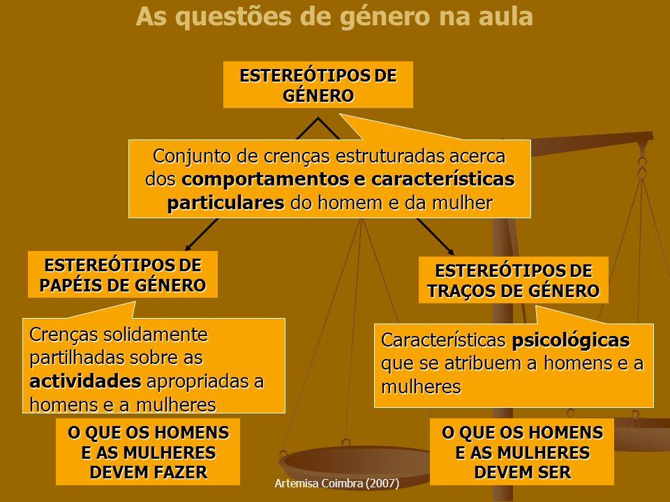 Artemisa Coimbra (2007) As questões de género na aula ESTEREÓTIPOS DE GÉNERO Conjunto de crenças estruturadas acerca dos comportamentos e característi