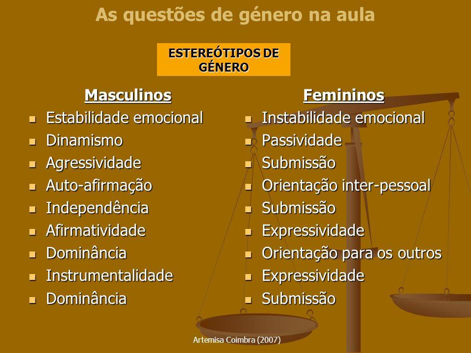Artemisa Coimbra (2007) As questões de género na aulaMasculinos Estabilidade emocional Estabilidade emocional Dinamismo Dinamismo Agressividade Agress