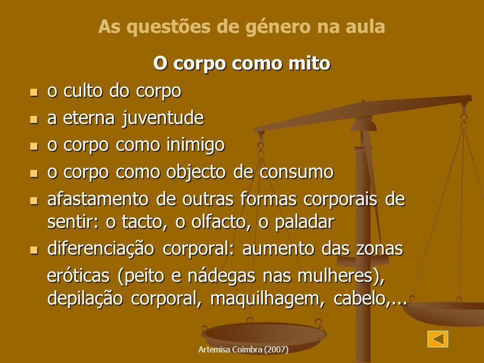Artemisa Coimbra (2007) O corpo como mito o culto do corpo o culto do corpo a eterna juventude a eterna juventude o corpo como inimigo o corpo como in
