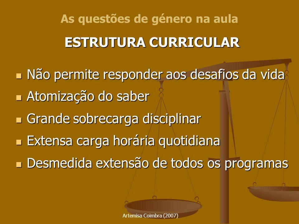 Artemisa Coimbra (2007) ESTRUTURA CURRICULAR Não permite responder aos desafios da vida Não permite responder aos desafios da vida Atomização do saber