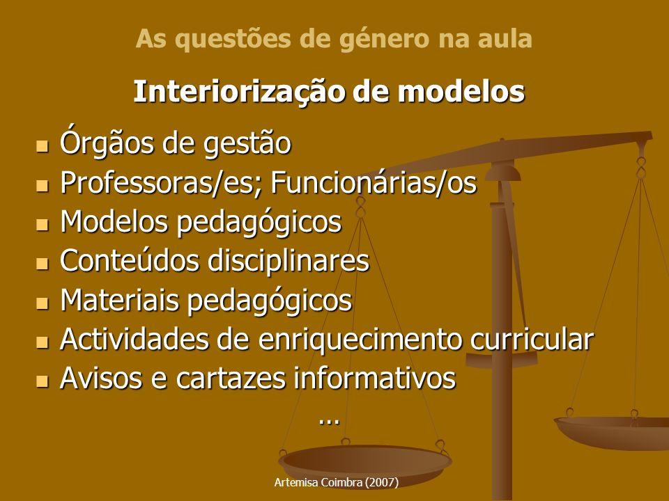 Artemisa Coimbra (2007) Interiorização de modelos Órgãos de gestão Órgãos de gestão Professoras/es; Funcionárias/os Professoras/es; Funcionárias/os Mo