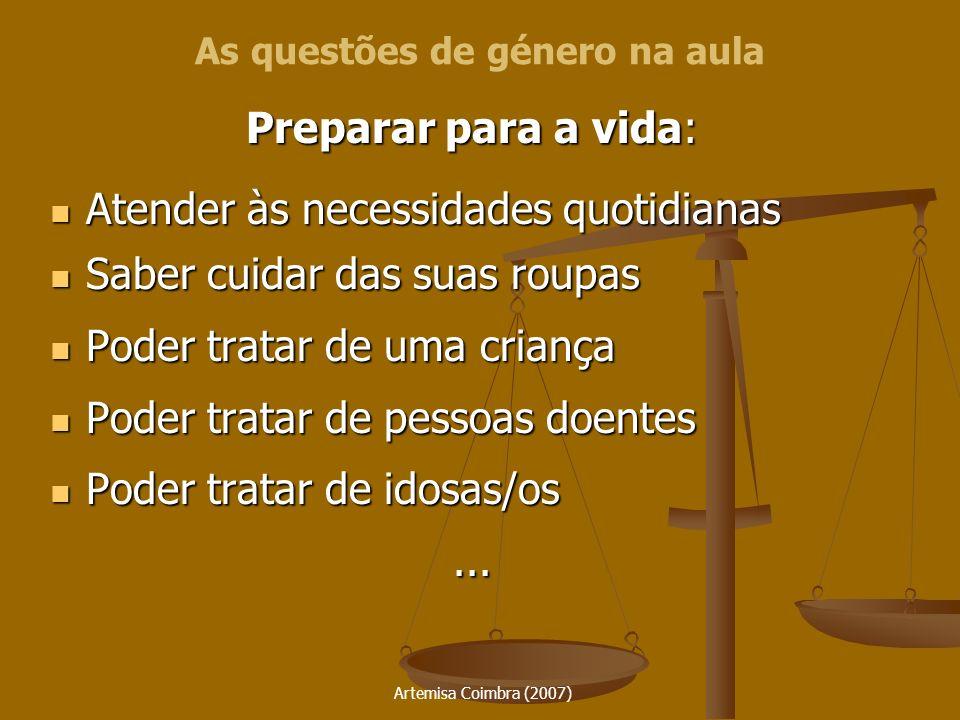Artemisa Coimbra (2007) Preparar para a vida: Atender às necessidades quotidianas Atender às necessidades quotidianas Saber cuidar das suas roupas Sab