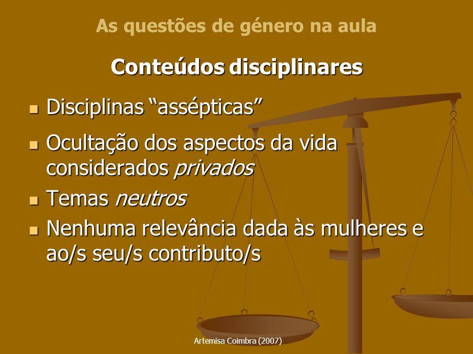 Artemisa Coimbra (2007) Conteúdos disciplinares Disciplinas assépticas Disciplinas assépticas Ocultação dos aspectos da vida considerados privados Ocu