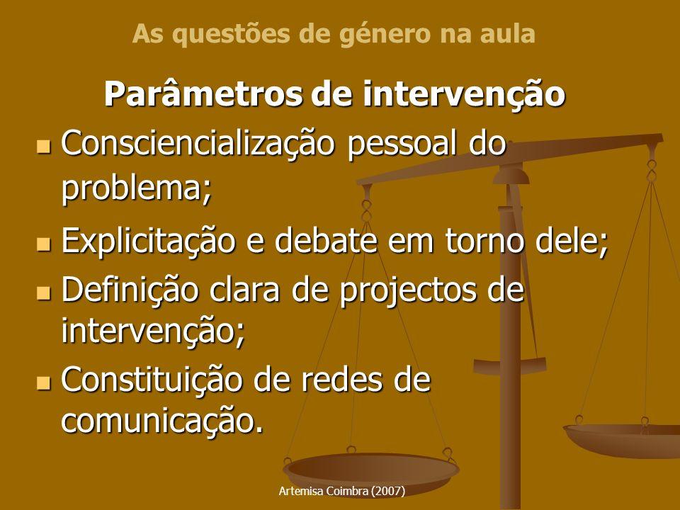 Artemisa Coimbra (2007) Parâmetros de intervenção Consciencialização pessoal do problema; Consciencialização pessoal do problema; Explicitação e debat