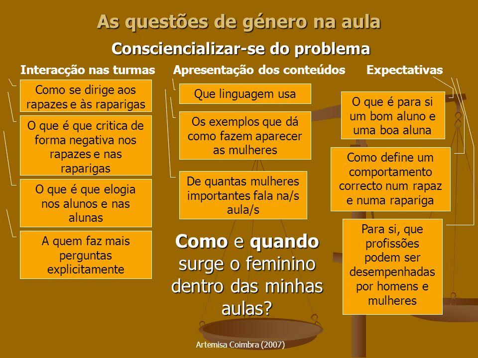 Artemisa Coimbra (2007) As questões de género na aula Consciencializar-se do problema Como e quando surge o feminino dentro das minhas aulas? Interacç
