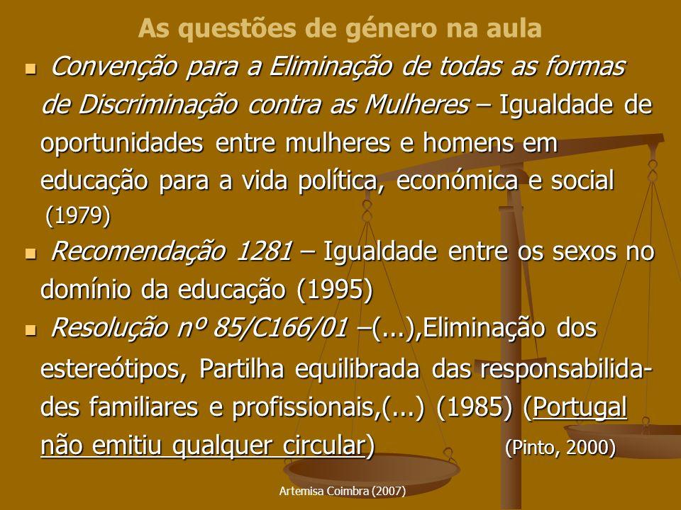 Artemisa Coimbra (2007) III Programa Comunitário de Acção para a Igualdade de Oportunidades entre Mulheres e Homens (1991-1995) – Estratégia da integração da perspectiva de género (mainstreaming) III Programa Comunitário de Acção para a Igualdade de Oportunidades entre Mulheres e Homens (1991-1995) – Estratégia da integração da perspectiva de género (mainstreaming) IV Programa Comunitário de Acção para a Igualdade de Oportunidades entre Mulheres e Homens (1996-2000) – Reforço da estratégia da integração da perspectiva de género (mainstreaming), Combate aos estereótipos sexistas IV Programa Comunitário de Acção para a Igualdade de Oportunidades entre Mulheres e Homens (1996-2000) – Reforço da estratégia da integração da perspectiva de género (mainstreaming), Combate aos estereótipos sexistas Comunicação da Comissão Europeia – Educação e Formação: especificação da adopção da estratégia de mainstreaming (Fevereiro de 1996) Comunicação da Comissão Europeia – Educação e Formação: especificação da adopção da estratégia de mainstreaming (Fevereiro de 1996) Programas Comunitários no âmbito da Educação e Formação: SÓCRATES, JEUNESSE POUR LEUROPE e LEONARDO DA VINCI: Igualdade de oportunidades e dimensão de género entre as prioridades (Pinto, 2000) Programas Comunitários no âmbito da Educação e Formação: SÓCRATES, JEUNESSE POUR LEUROPE e LEONARDO DA VINCI: Igualdade de oportunidades e dimensão de género entre as prioridades (Pinto, 2000) As questões de género na aula