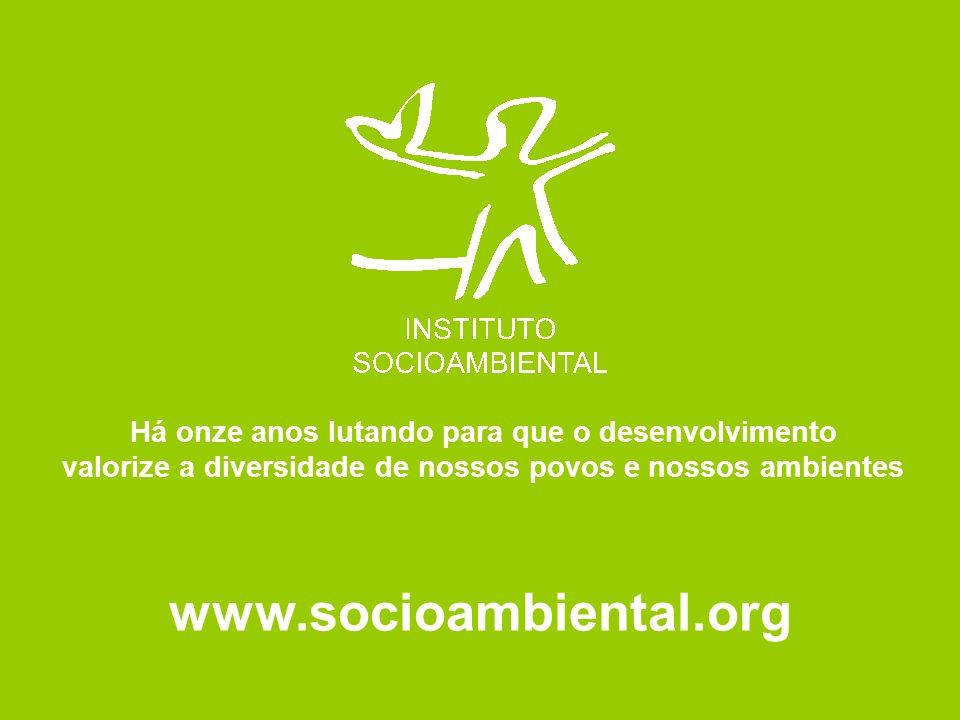 www.socioambiental.org Há onze anos lutando para que o desenvolvimento valorize a diversidade de nossos povos e nossos ambientes