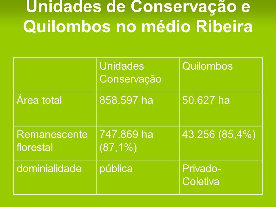 Unidades de Conservação e Quilombos no médio Ribeira Unidades Conservação Quilombos Área total858.597 ha50.627 ha Remanescente florestal 747.869 ha (87,1%) 43.256 (85,4%) dominialidadepúblicaPrivado- Coletiva