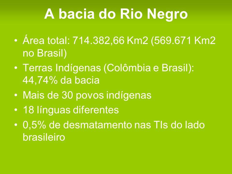 A bacia do Rio Negro Área total: 714.382,66 Km2 (569.671 Km2 no Brasil) Terras Indígenas (Colômbia e Brasil): 44,74% da bacia Mais de 30 povos indígenas 18 línguas diferentes 0,5% de desmatamento nas TIs do lado brasileiro