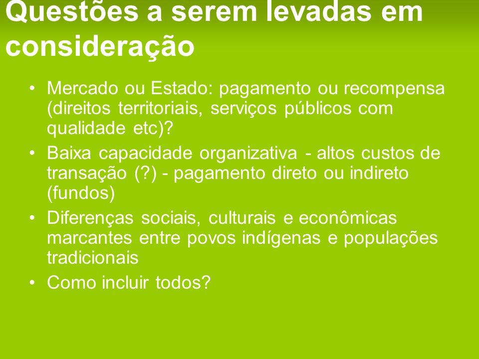 Questões a serem levadas em consideração Mercado ou Estado: pagamento ou recompensa (direitos territoriais, serviços públicos com qualidade etc).