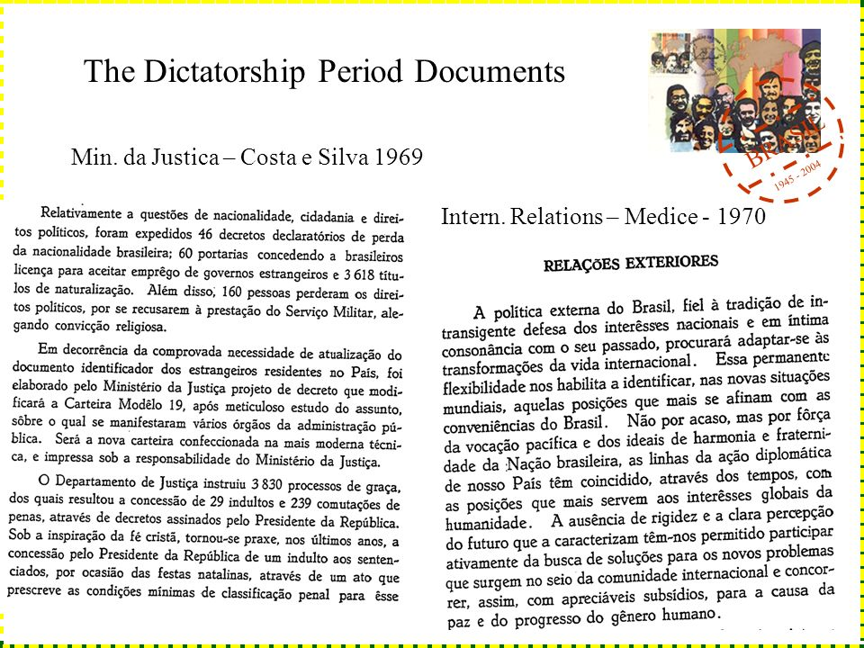 BRASIL 1945 - 2004 The Dictatorship Period Documents Min. da Justica – Costa e Silva 1969 Intern. Relations – Medice - 1970
