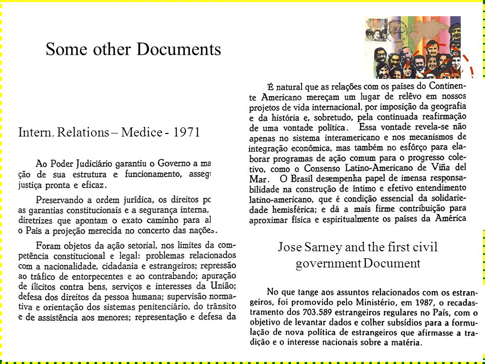 BRASIL 1945 - 2004 Some other Documents Jose Sarney and the first civil government Document Intern.