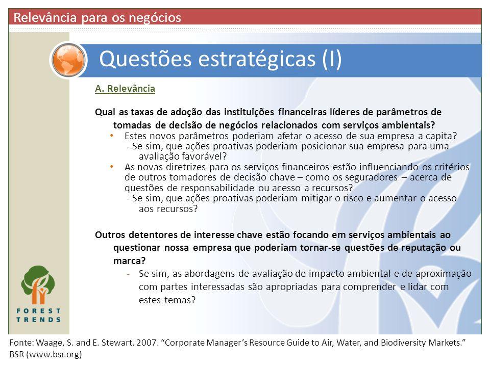 A. Relevância Qual as taxas de adoção das instituições financeiras líderes de parâmetros de tomadas de decisão de negócios relacionados com serviços a