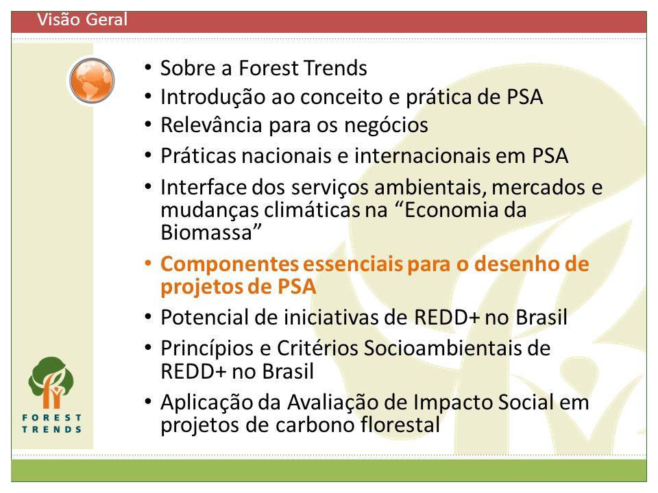 Sobre a Forest Trends Introdução ao conceito e prática de PSA Relevância para os negócios Práticas nacionais e internacionais em PSA Interface dos ser