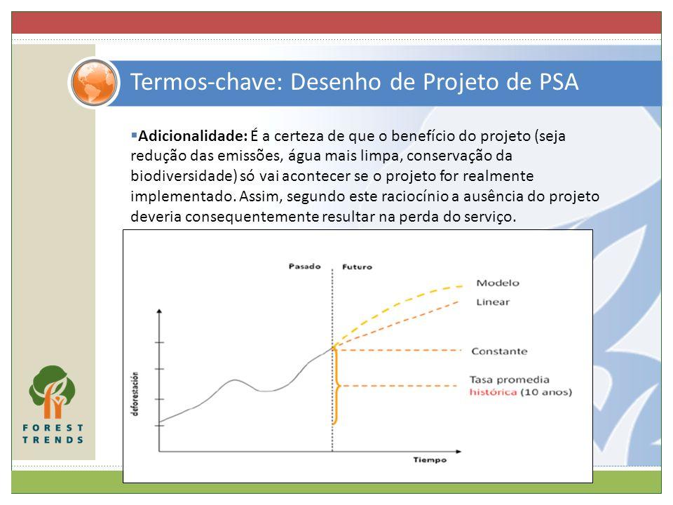 Termos-chave: Desenho de Projeto de PSA Adicionalidade: É a certeza de que o benefício do projeto (seja redução das emissões, água mais limpa, conserv