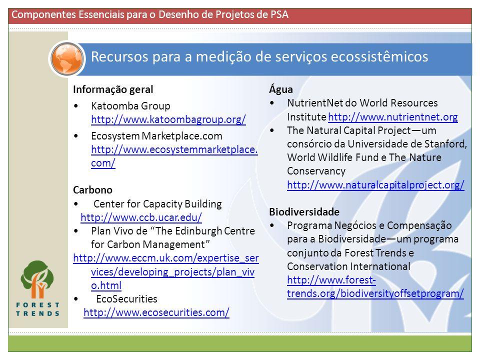 Recursos para a medição de serviços ecossistêmicos Informação geral Katoomba Group http://www.katoombagroup.org/ http://www.katoombagroup.org/ Ecosyst