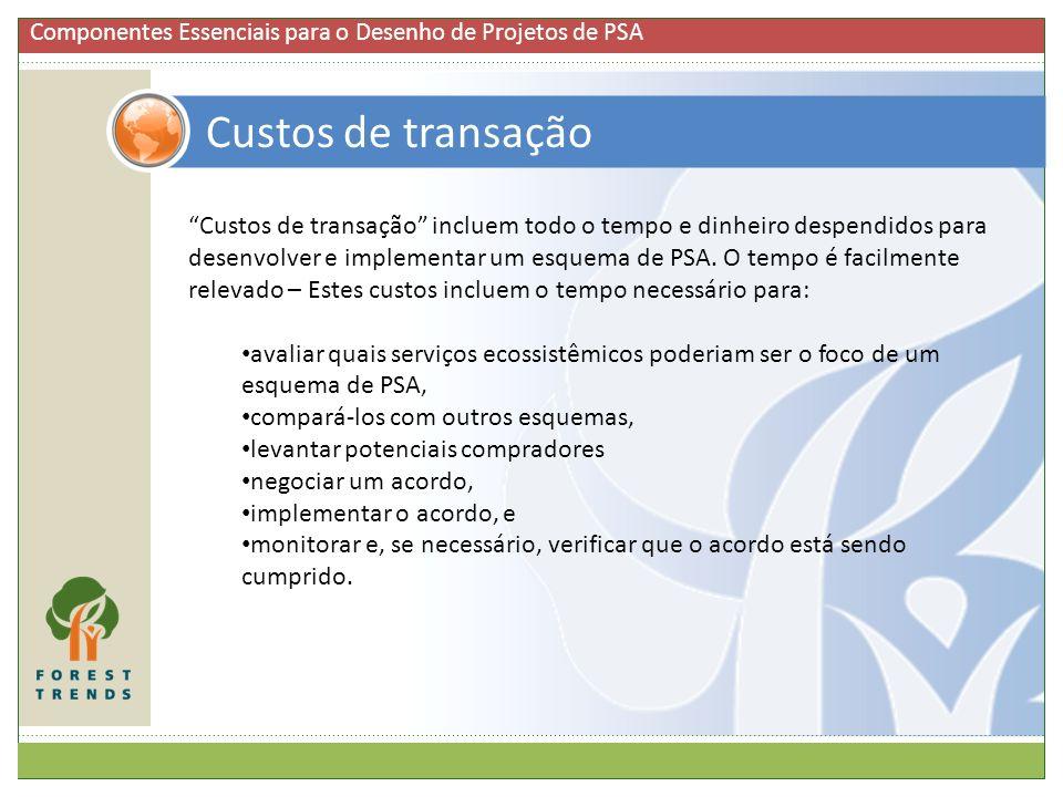 Custos de transação Custos de transação incluem todo o tempo e dinheiro despendidos para desenvolver e implementar um esquema de PSA. O tempo é facilm