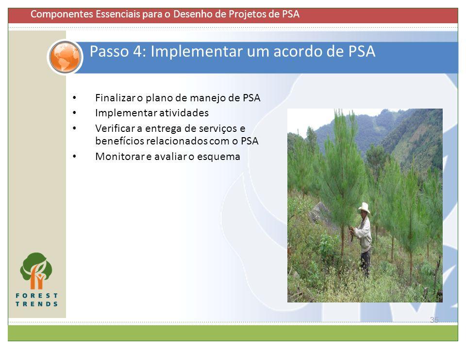 35 Passo 4: Implementar um acordo de PSA Finalizar o plano de manejo de PSA Implementar atividades Verificar a entrega de serviços e benefícios relaci