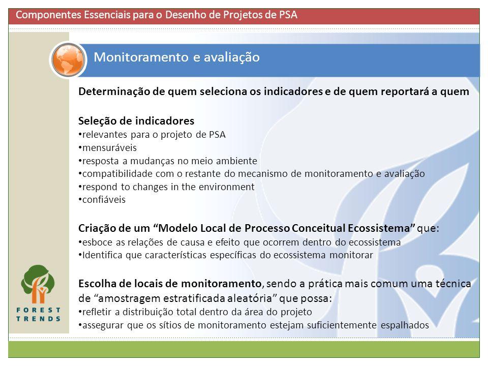 Monitoramento e avaliação Determinação de quem seleciona os indicadores e de quem reportará a quem Seleção de indicadores relevantes para o projeto de