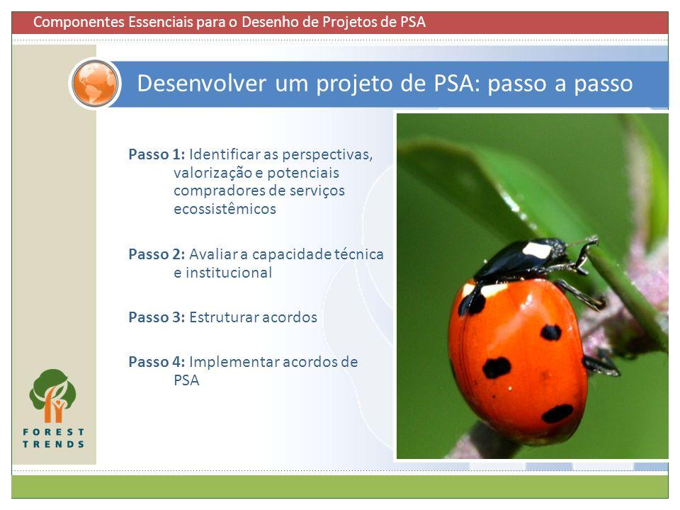 35 Passo 4: Implementar um acordo de PSA Finalizar o plano de manejo de PSA Implementar atividades Verificar a entrega de serviços e benefícios relacionados com o PSA Monitorar e avaliar o esquema 35 Componentes Essenciais para o Desenho de Projetos de PSA