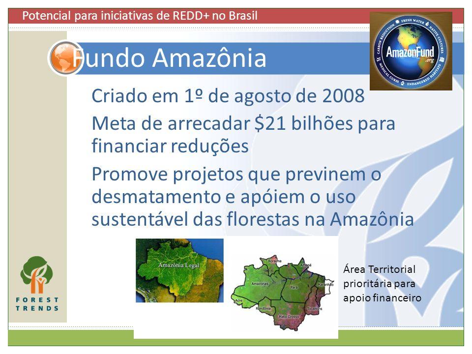 Criado em 1º de agosto de 2008 Meta de arrecadar $21 bilhões para financiar reduções Promove projetos que previnem o desmatamento e apóiem o uso suste