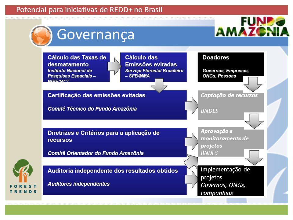 Governança Captação de recursos BNDES Aprovação e monitoramento de projetos BNDES Implementação de projetos Governos, ONGs, companhias Potencial para