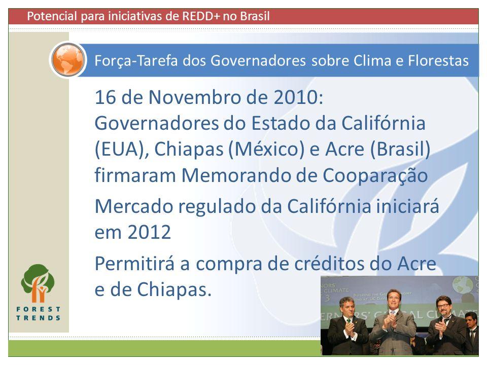 16 de Novembro de 2010: Governadores do Estado da Califórnia (EUA), Chiapas (México) e Acre (Brasil) firmaram Memorando de Cooparação Mercado regulado