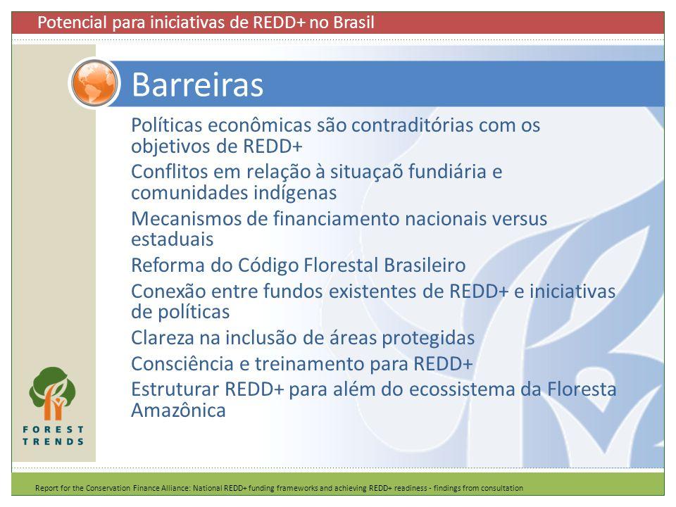 Políticas econômicas são contraditórias com os objetivos de REDD+ Conflitos em relação à situaçaõ fundiária e comunidades indígenas Mecanismos de fina