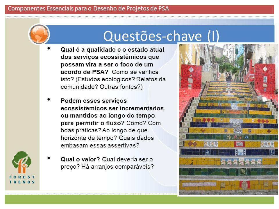 6 Qual é a qualidade e o estado atual dos serviços ecossistêmicos que possam vira a ser o foco de um acordo de PSA? Como se verifica isto? (Estudos ec