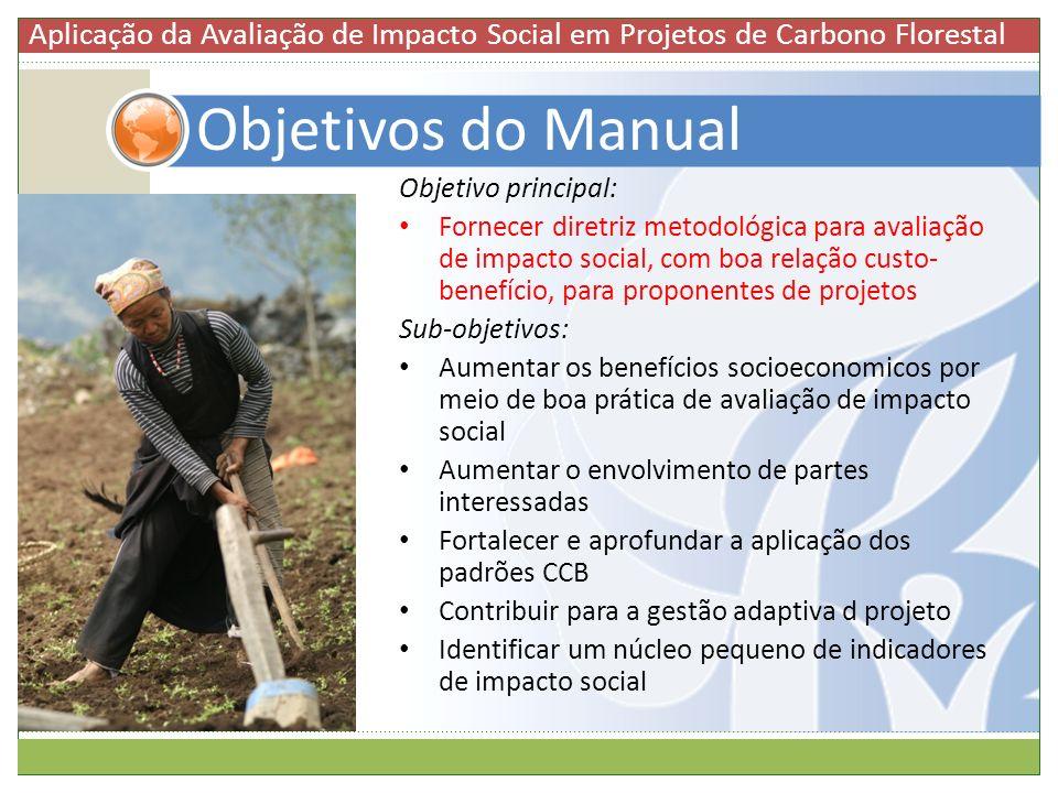 Objetivos do Manual Objetivo principal: Fornecer diretriz metodológica para avaliação de impacto social, com boa relação custo- benefício, para propon