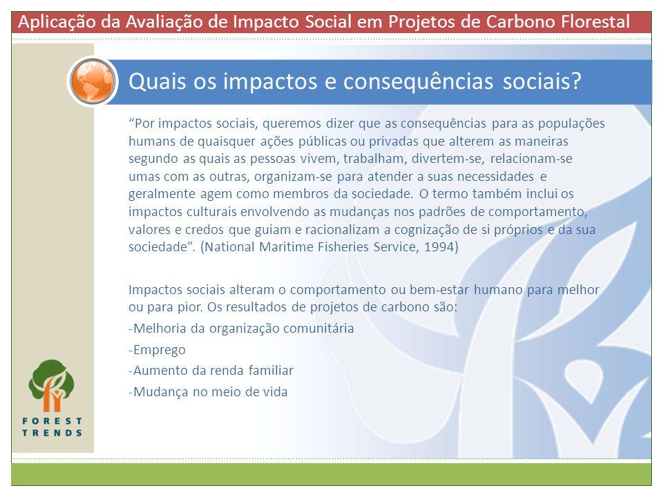 Por impactos sociais, queremos dizer que as consequências para as populações humans de quaisquer ações públicas ou privadas que alterem as maneiras se