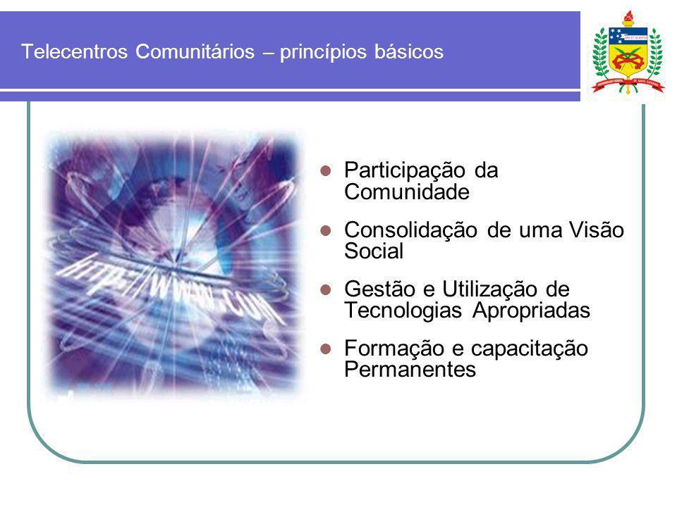 Telecentros Comunitários – princípios básicos Participação da Comunidade Consolidação de uma Visão Social Gestão e Utilização de Tecnologias Apropriad