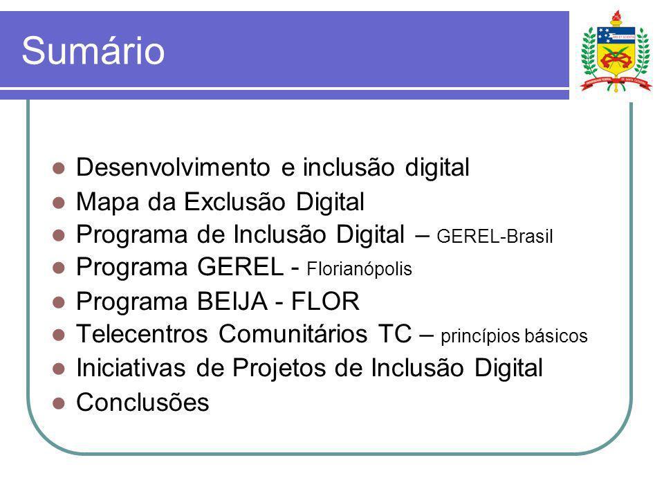 Sumário Desenvolvimento e inclusão digital Mapa da Exclusão Digital Programa de Inclusão Digital – GEREL-Brasil Programa GEREL - Florianópolis Program