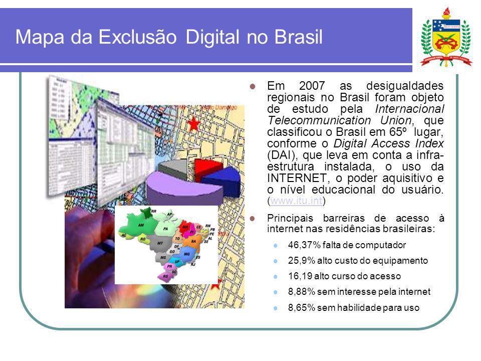 Mapa da Exclusão Digital no Brasil Em 2007 as desigualdades regionais no Brasil foram objeto de estudo pela Internacional Telecommunication Union, que