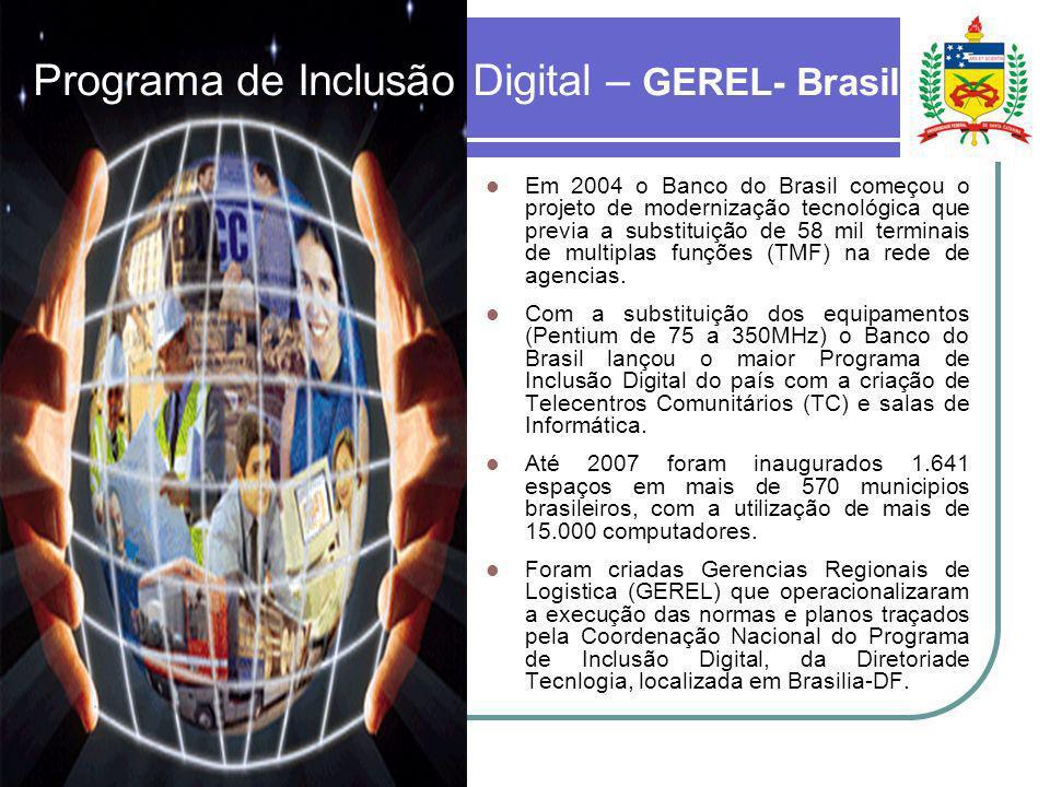 Programa de Inclusão Digital – GEREL- Brasil Em 2004 o Banco do Brasil começou o projeto de modernização tecnológica que previa a substituição de 58 m