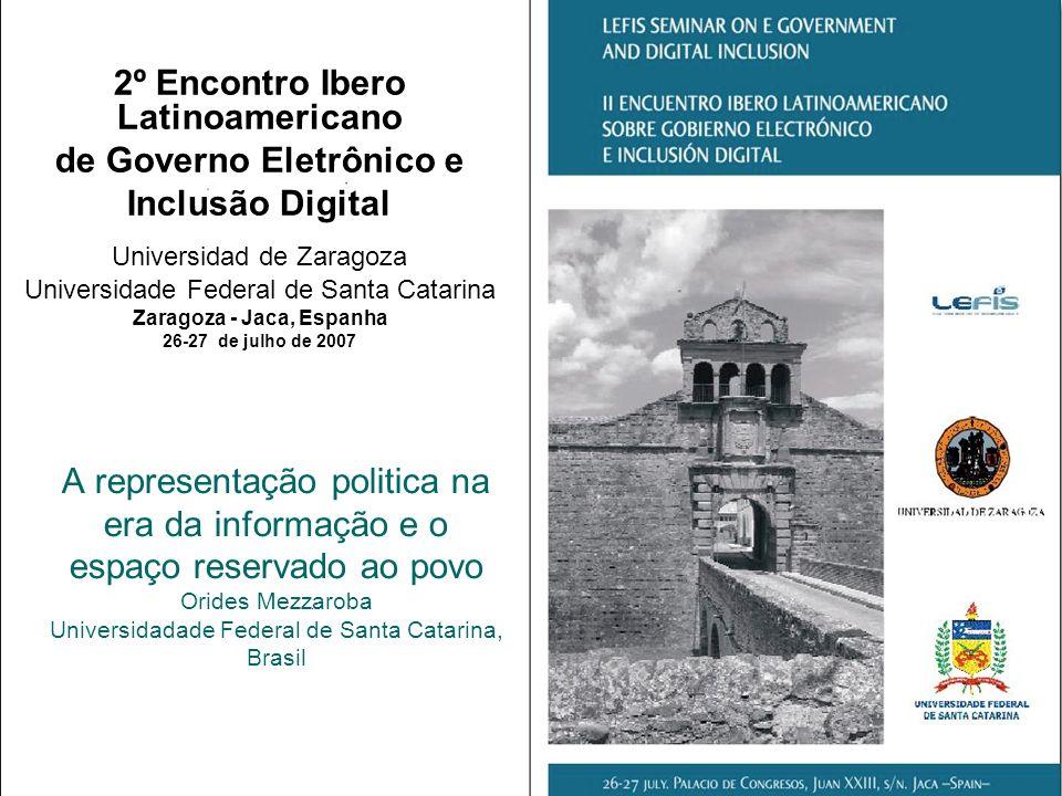 Sumário Representação Politica Partidos Políticos Democracia Ciberdemocracia Governo Eletronico Conclusões